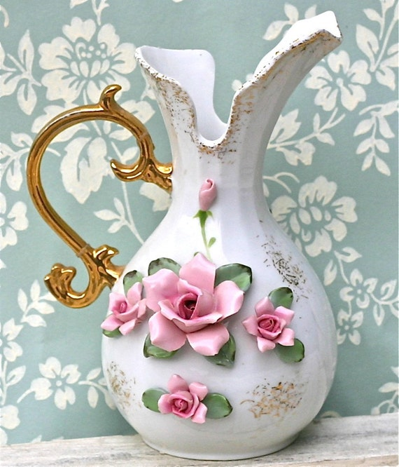 Vintage Lefton China Vase Pitcher Pink Roses Gold Handle