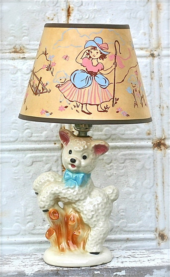 Vintage Nursery Lamp Mary Had A Little Lamb Shawnee