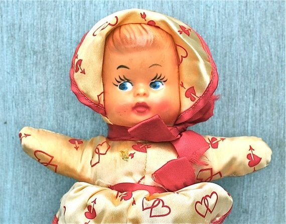 Vintage Doll Satin Cloth Body Plastic Face Red Hearts 1940s