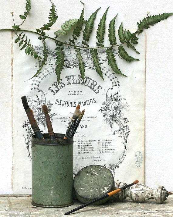 Vintage Painted Canister Shabby Chippy Green