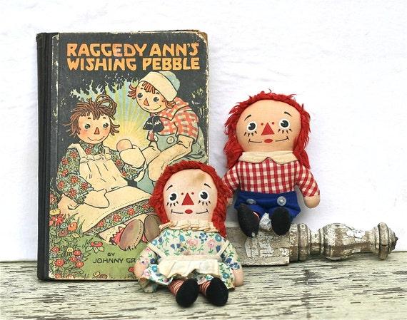 "Vintage Raggedy Ann And Andy Pair Knickerbocker Dolls 7"""