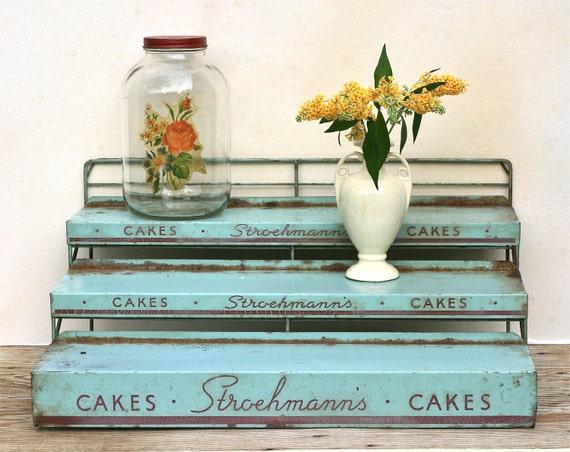 Reserved For Hooppooh Vintage Stroehmanns Cakes Store Display Rack Aqua Metal