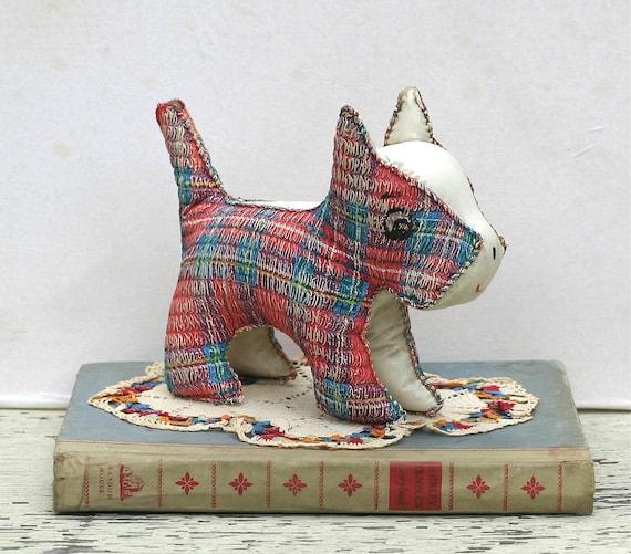 Vintage Woven Plaid Vinyl Scottie Dog Stuffed Toy