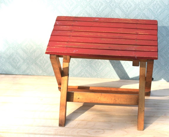 Vintage Folding Red Wood Stool Seat