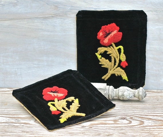 Vintage Chenille Flowered Embroidered Pockets on Black Velvet