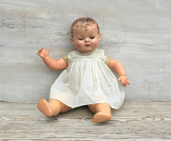 """Reserved For Lorrie Circa 1924 Effanbee Baby Evelyn 18"""" Composition Doll As Is"""