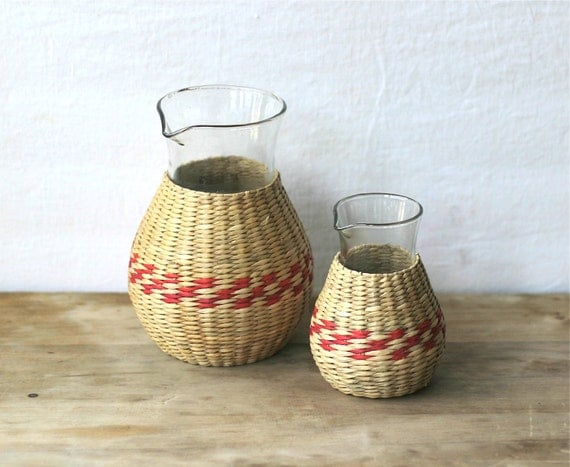 Vintage Woven Straw Wrapped Glass Carafes Set Of Two