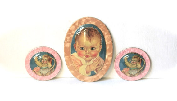 Circa 1930s 1940s Celluloid Dome Top Plaques  Baby Maud Tousey Fangel