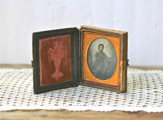 RESERVED Antique Daguerreotype Little Girl Paper Mache Mother Of Pearl Inlay