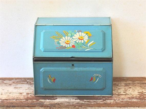 Vintage Ransburg Tin Bread Box Double Shelf Blue Hand Painted