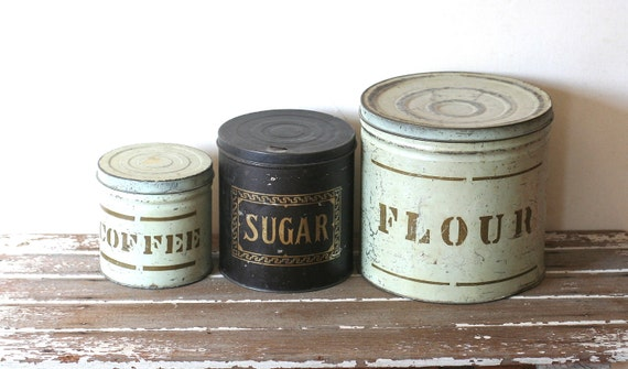 vintage rustic tin canisters flour coffee sugar shabby