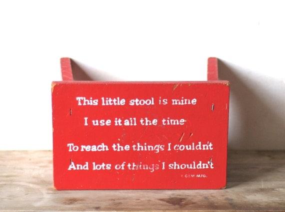 Mid Century Childs Red Wooden Stool GEM MFG