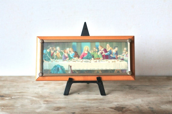 Circa 1940s 1950s Vintage Framed Last Supper Small Unusual Frame
