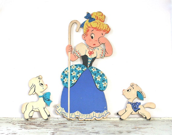 Circa 1950s Mother Goose Pin Ups No 229 Little Bo Peep Nursey