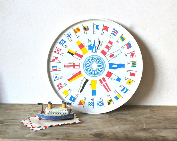 Vintage Waverly Nautical Tray Morse Code Compass