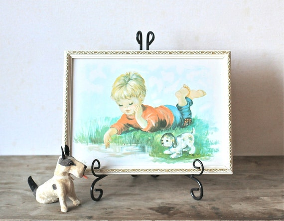 Circa 1970s  Sweet Blonde Boy And Puppy Picture