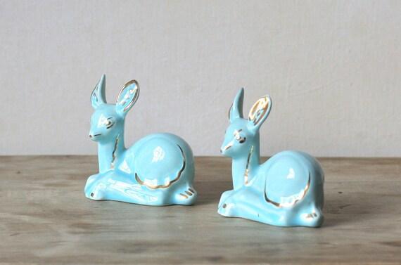 Vintage Ceramic Baby Deer Aqua Blue Gold