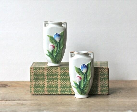 Vintage Deco Bud Vases Occupied Japan Tulips Set Of Two