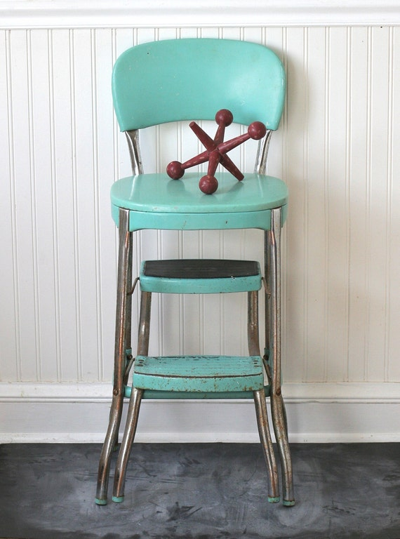 circa 1950s cosco fold out step stool chair aqua turquoise seafoam