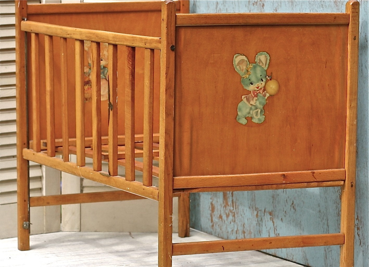 Reserved For D Vintage Wooden Doll Crib