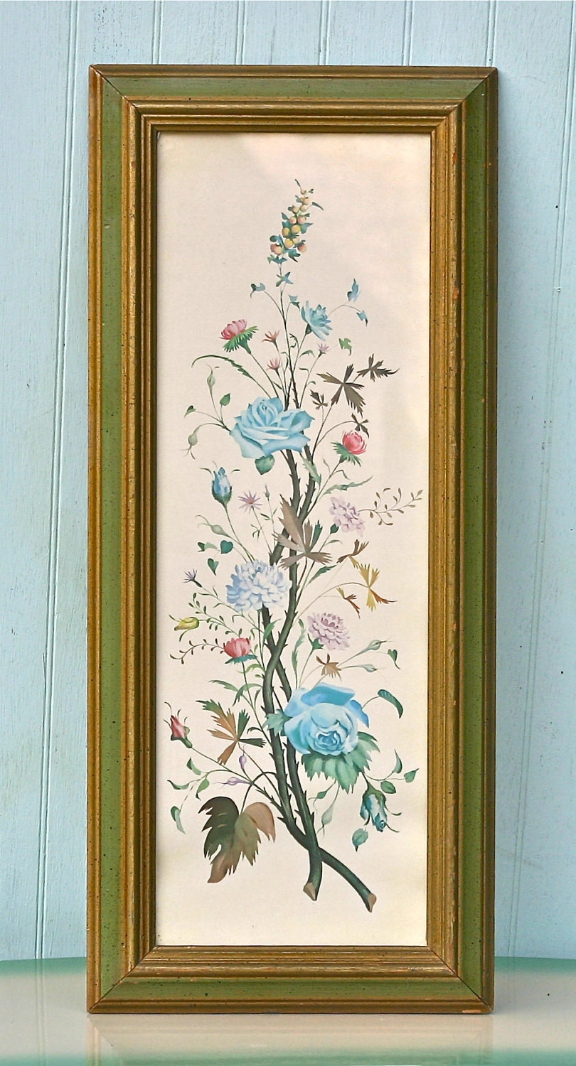 Vintage Turner Wall Accessory Floral Spay Picture Shabby Blue