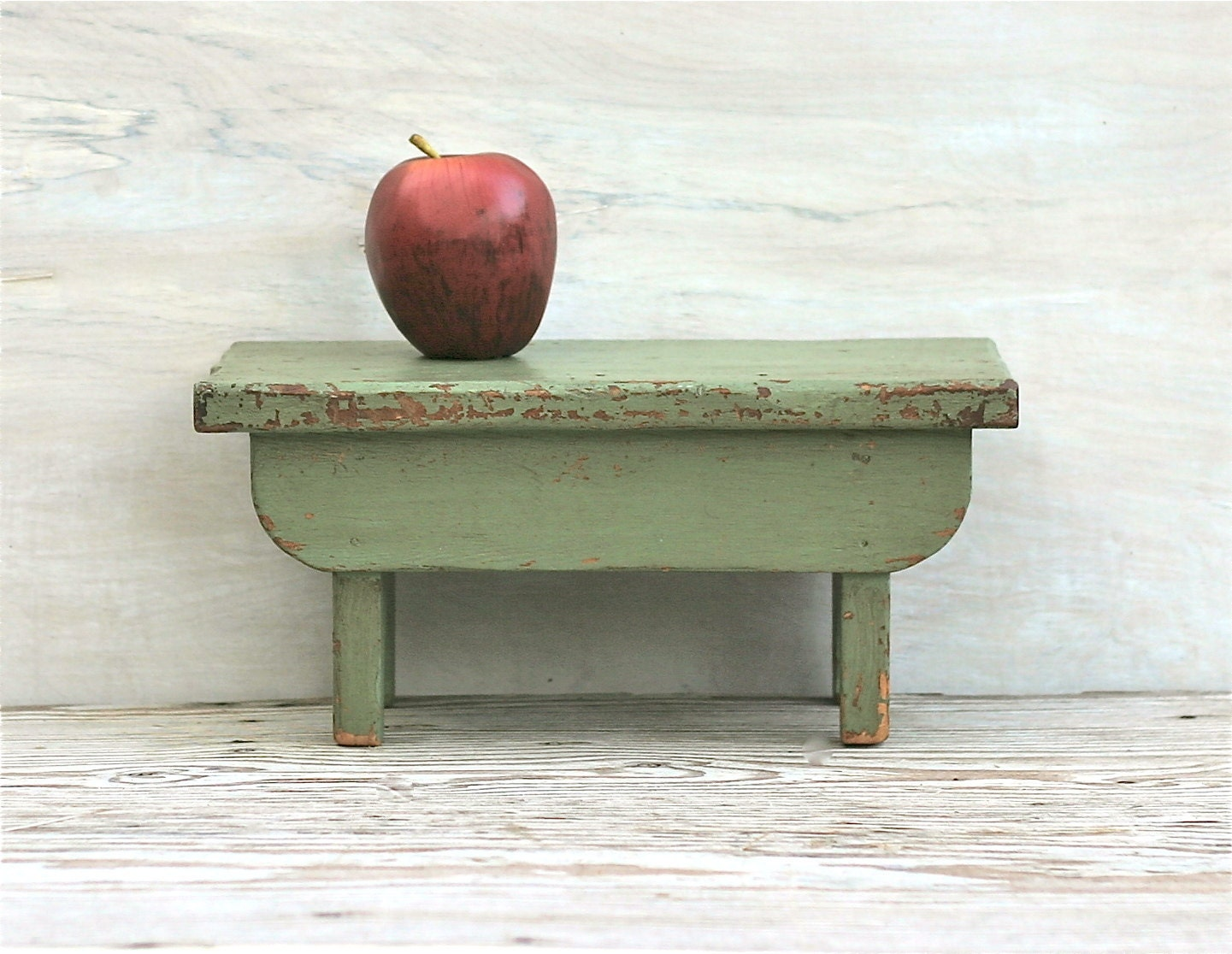 Old Distressed Wooden Step Stool Rustic Farmhouse By Ivorybird
