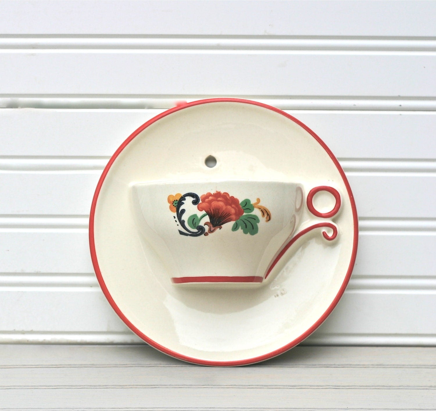 Vintage Tea Cup Wall Pocket Vase Oversized Funky By Ivorybird