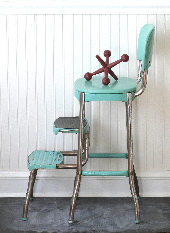 Circa 1950s Cosco Fold Out Step Stool Chair Aqua Turquoise