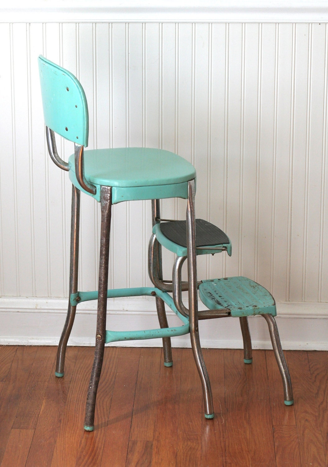 Circa 1950s Cosco Fold Out Step Stool Chair Aqua Turquoise