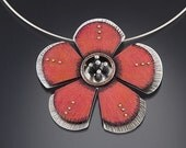 Large hibiscus sterling-silver and Prismacolor brooch and pendant