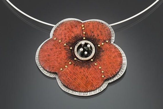 Red poppy flower sterling silver and copper pendant and brooch
