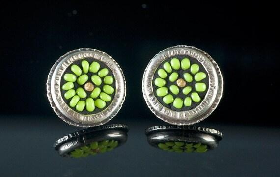 Seed-bead mosaic post earrings