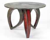 Metal Dining Table Round and Red