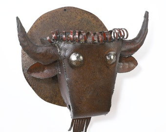 Wall Sculpture Buffalo Head Art Metal Bison Art