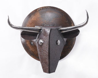 Wall Sculpture Animal Steer Head Art Metal