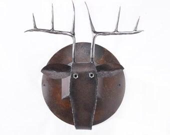 Wall Sculpture Deer Head Art Metal Mounted Animal Head