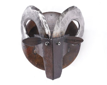 Wall Sculpture Ram's Head Metal Art Mounted Head Large Wall Decor
