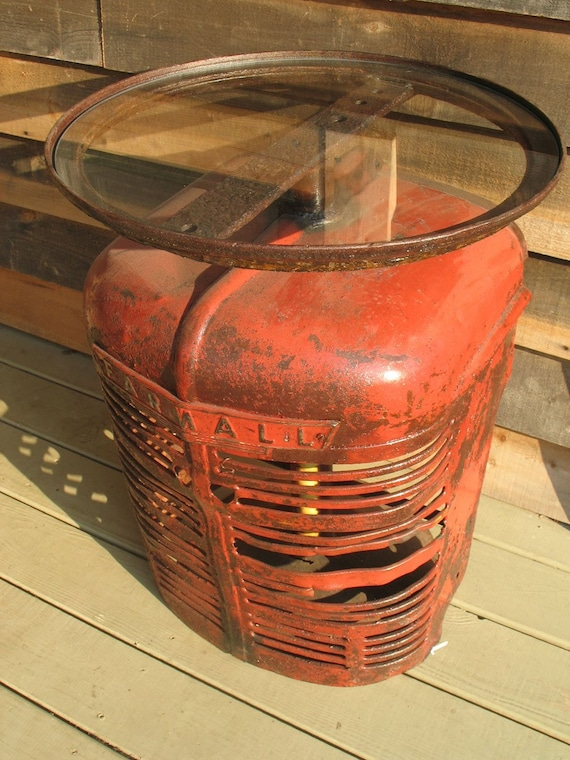 Antique Tractor Furniture : Side table made with recycled farmall tractor hood