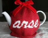 Rude Red Valentine's Arse tea cosy with velvet ribbon