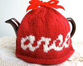 """SALE - Red """"arse"""" tea cosy with teapot"""