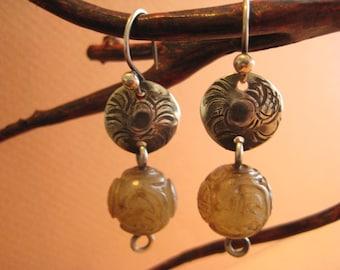Serpentine African Bead, Sterling Silver Earrings