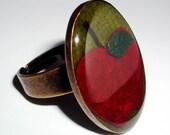 Apple Harvest Ring Autumn Adjustable Antiqued Silver Resin Ring