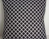 "Black and White Pillow Cover, 16 Inch Square Cotton, Envelope Style Cotton Pillow Case ""Ebony Latticework"""