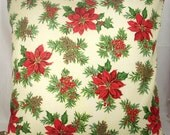 """Christmas Pillow Cover, Red, Green, Gold, Poinsettia Print, 16 Inch Square Cotton Pillow Case, Winter Decor, """"Blooming Poinsettia"""""""