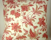 """Coral Pink and Ivory, Floral Printed Pillow Cover, 16 inch Square, Envelope Style, Cotton Pillow Case, """"Baretta Azalea Blush"""""""