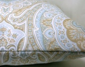 Light Blue, Ivory and Tan Paisley Damask 16 x 16 Inch Square Cotton Pillow Cover - Horizon Paisley