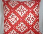"""Coral Pink White Pillow Cover, Printed 16 Inch Square, Envelope Style Cotton Pillow Cover, """"Coral Charisma"""""""