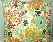"RESERVED - Set of 4, Multi Color Floral Print Pillow Covers, 18 Inch Square Cotton Envelope Style Covers, ""Fiesta Floral"""