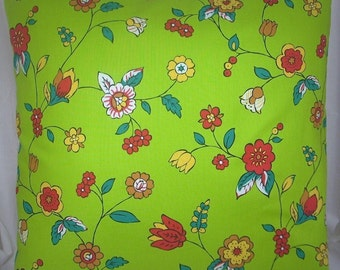 "Bright Green, Multi-Color Floral Pillow Cover, 18 Inch Square, Printed Envelope Style Cotton Pillow Case, ""Folk Art Floral"""