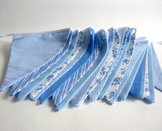 Light Blue and Ivory Cotton Fabric Party Banner / Bunting / Pennant Banner, 11.5 ft - Colonial Garden Party